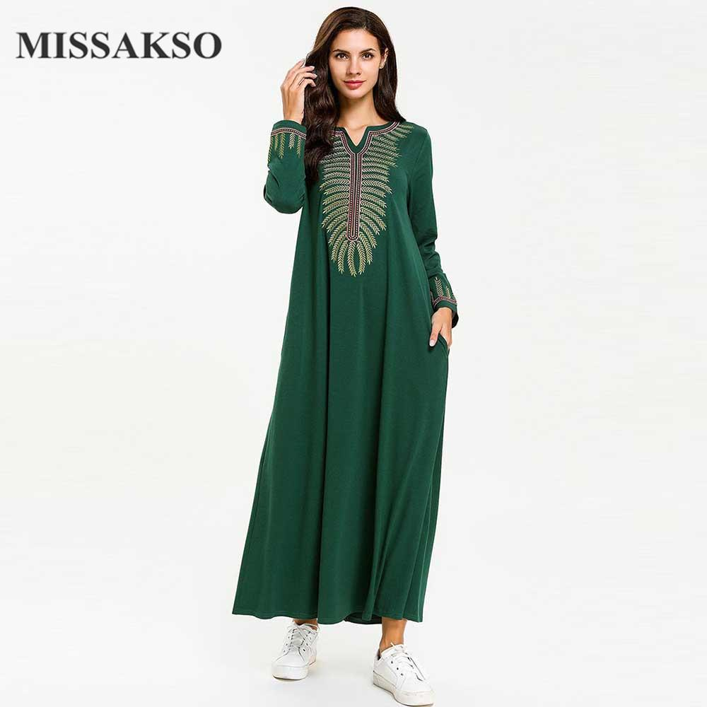 c39a6e761336f Missakso Women Casual Maxi Dresses Green Spring Autumn Solid With Pockets  Embroidery Loose Female Vintage Abaya Arab Clothes