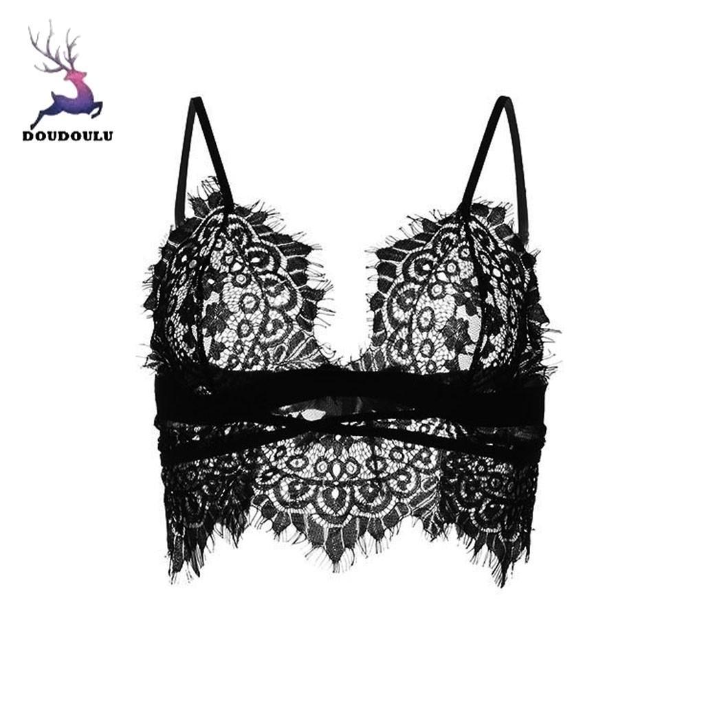 b87f734df6938 2019 2019 Women Sexy Plus Size Eyelash Lace Lingerie Crop Top Bra ...