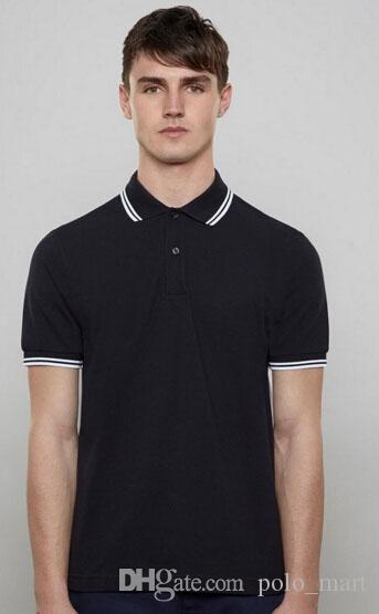 Achats London Brit Hommes Polos unisexe avec feuille de coton Col rayé à manches courtes Sport Polos Angleterre Shirt Blanc Noir