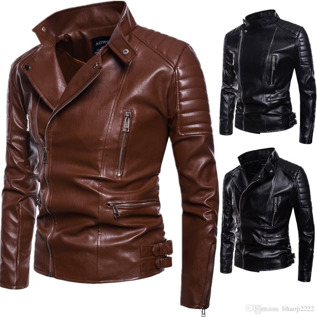 Brand Motorcycle Leather Jacket Coats Men 2018 Autumn Winter Men S