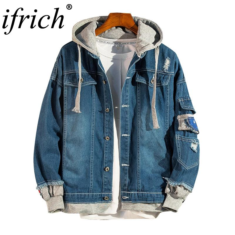 Jean Jacket Men Denim Jackets Ripped Jeans Jacket Washed Distressed Denim  Man Fit Streetwear Hooded Hip Hop Coat Chaqueta Hombre Leather Jacket Sale  Coats ... 1b28ea3b152