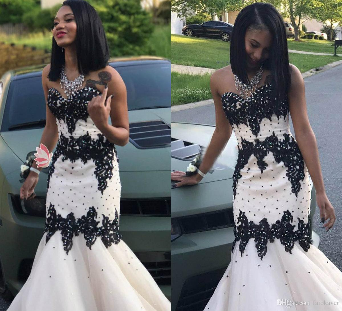 2019 White Prom Dresses Sweetheart Lace Appliqued Bead Satin Black Girl  Evening Dress Girls Graduation Homecoming Wear 2019 Cocktail Dress