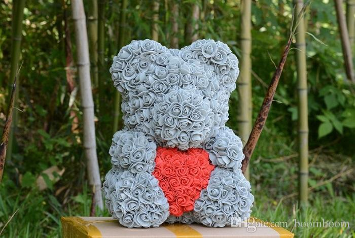 In stock 25cm with Heart Big Red Bear Rose Flower Artificial Decoration Christmas Gifts for Women Valentines Gift no box
