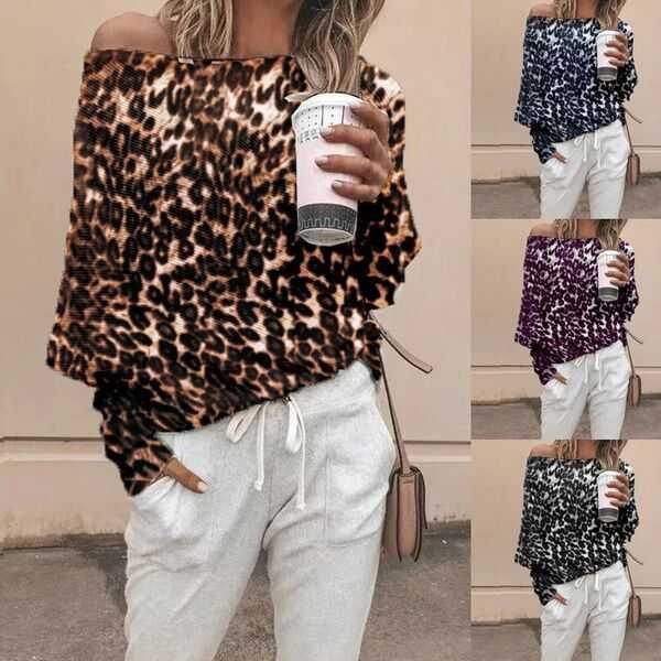 Long Sleeve Leopard T-Shirts Women Spring 2019 Black Casual Top Off ... 16981f72d7af