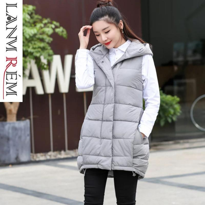 LANMREM 2019 New Arrival Women Hooded Sleeveless Pocket Irregular Cotton Vest Female Spring Autumn Loose Coat Korean Style TA968