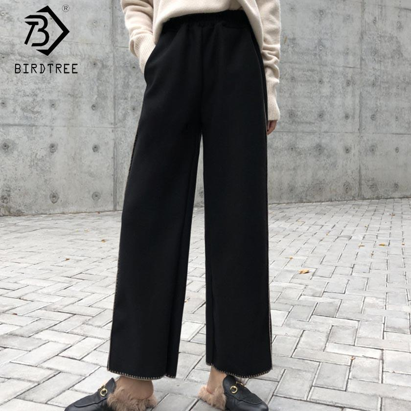 48c59ac55f Compre 2019 Mujeres Del Resorte Pantalón Sólido De Alta Cintura Elástica  Bolsillos Tobillo Longitud De Pierna Ancha Pantalones Sueltos Casual Moda  Hots ...