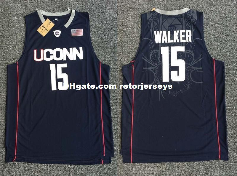 30d038a822e Kemba Walker #15 UCONN NCAA Sewn Men Stitched Basketball Sewn Jersey ...