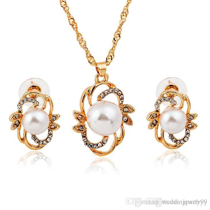 239c6c5745b991 2019 Luxury Women Pearl Stud Earrings Pendant Necklace Set Gold Plated Crystal  Pearl Earring Necklaces Bridal Jewelry Set For Wedding Prom Party From ...