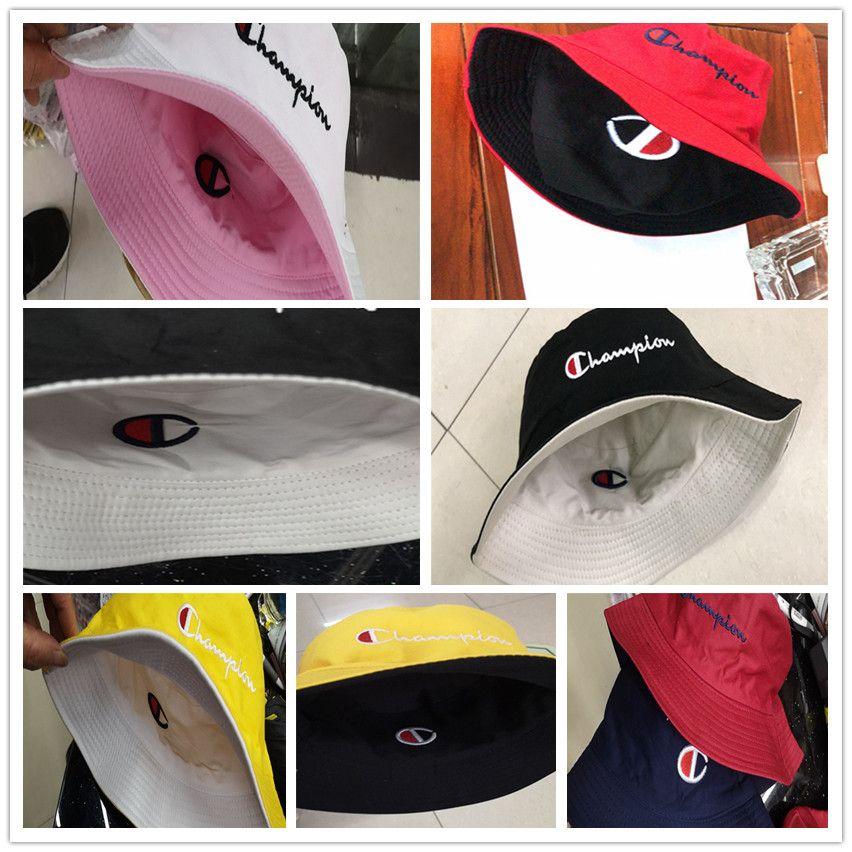 74284bf22facea 2019 Champion Double Sided Embroidery Letters Bucket Hat Brand Summer  Travel Beach Sunhat Visor Designer Men Women Outdoor Fisherman HatsC61301  From ...