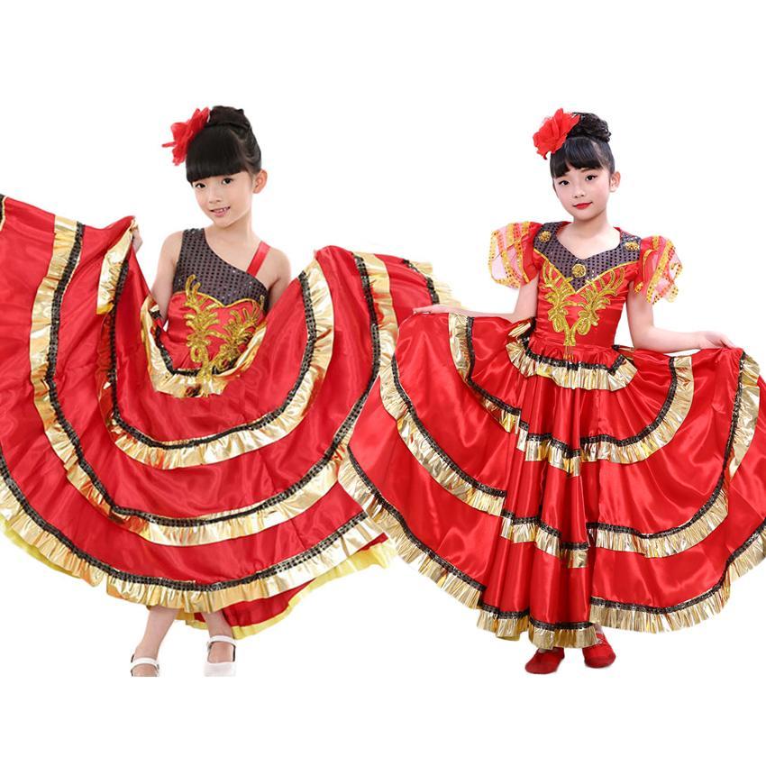 2019 Teenager Girls Ballroom Belly Spanish Flamenco Dance Dress Big Swing  Luxury Gypsy Kids Princess Big Swing Polyester Dress From Apparelone, ...