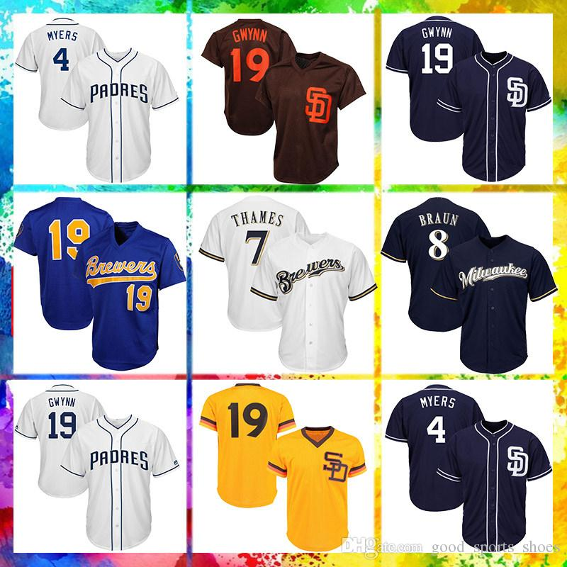 designer fashion 35bab 9f3f3 Milwaukee Brewers Majestic Coolbase Jersey 22 Christian Yelich 8 Ryan Braun  Jersey 7 Eric Thames Jersey 19 Robin Yount