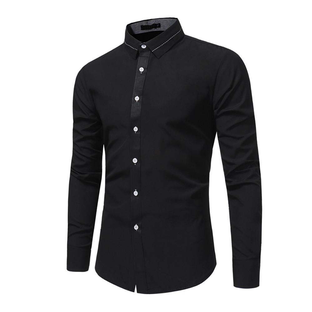 8cf205262b34 2019 Long Sleeve Shirt Men 2019 Autumn New Fashion Designer High Quality  Solid Shirt Non Iron Slim Fit Business Shirts Formal 2XL From Ceciliasa
