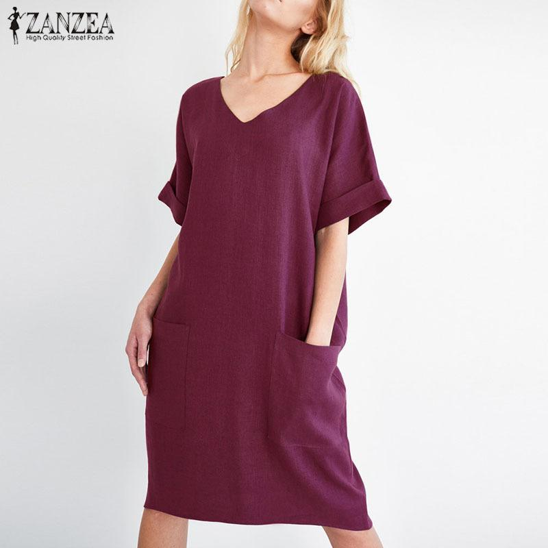 40d464137920 2019 Zanzea Plus Size Women Dress Short Sleeve V Neck Work Shirt Vestido  Casual Beach Vestidos Office Robe Femme 2018 Summer Dresses Y19012201 From  Jinmei02 ...
