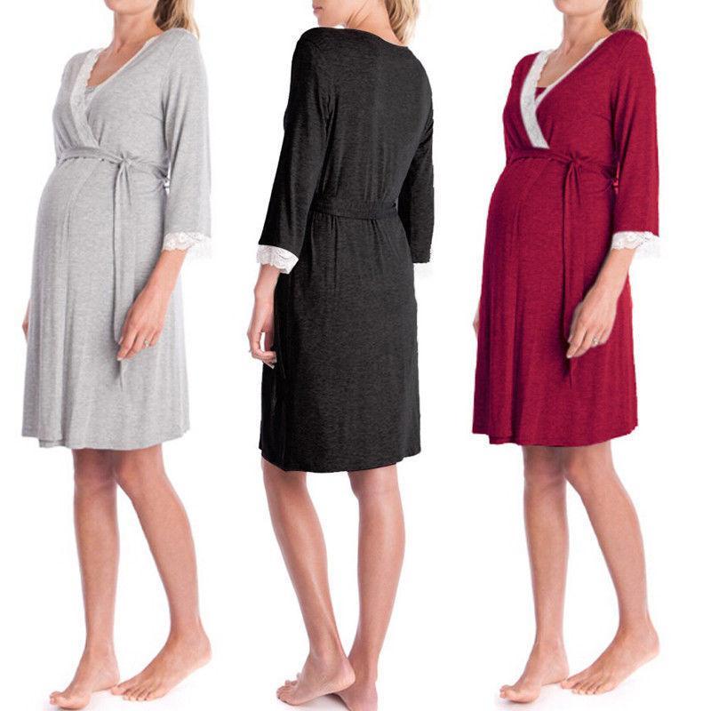d94329b22 Compre 9452 Mulheres Grávidas Pijamas De Maternidade Manga Longa Camisola  De Enfermagem Amamentação Macio Pijamas Pijamas Set De Nextbest10