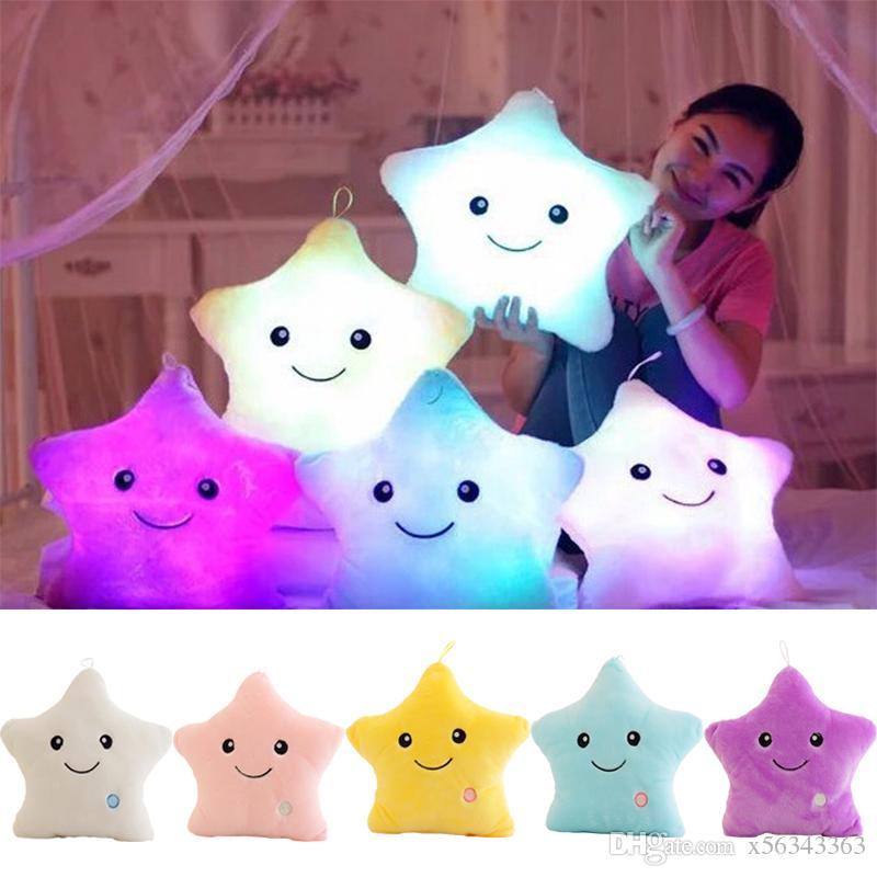 Glowing Pillow Star Led Luminous Soft Stuffed Plush Pillow Doll
