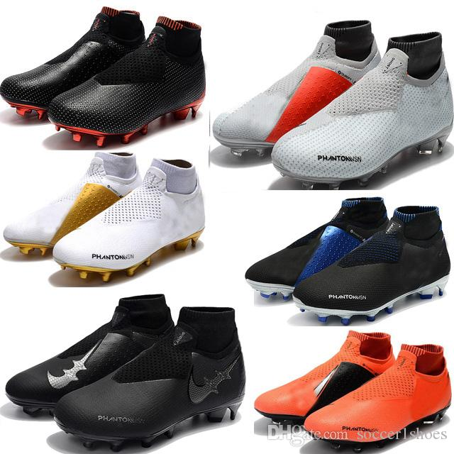 2019 New Black RED Phantom Vision Elite DF FG Soccer Cleats Soccer Shoes  Socks Laceless Phantom VSN Shadow High Ankle Gold Football Boots From  Soccer1shoes 63d54072dc5