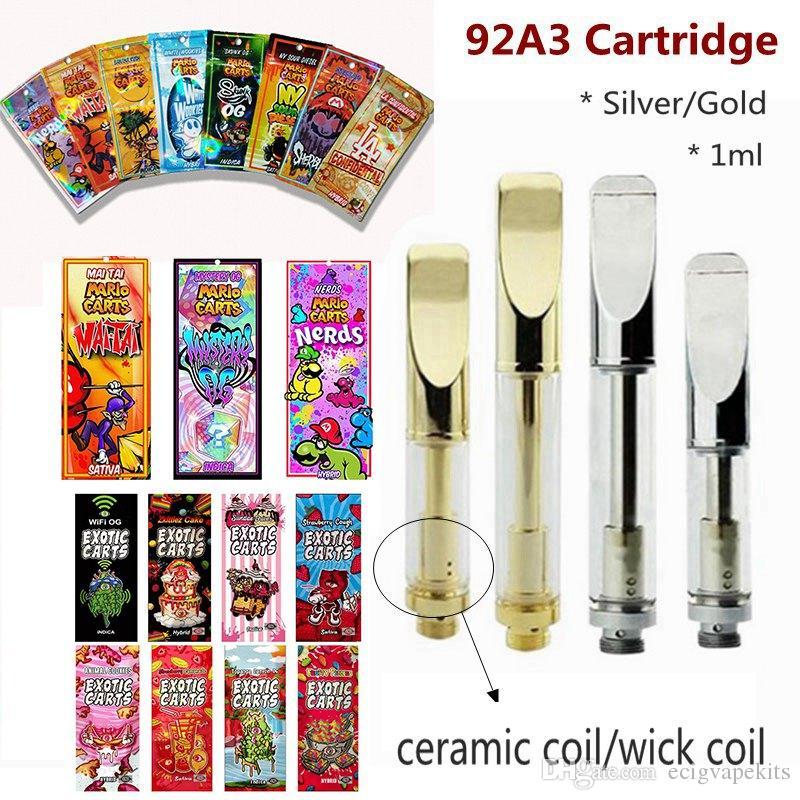 92A3 Vape Pens Thick Oil Cartridges 1 0ml Mario Carts Exotic Cart Wick  Ceramic Coil 510 Thread Battery Dab Pen Wax Vaporizer Ecigarette