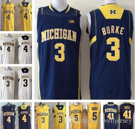 Michigan Wolverines 3 Trey Burke 5 Jalen Rose 4 Chris Webber 41 Glen Rice College Basketball stitched Jersey S-2XL Top Quality