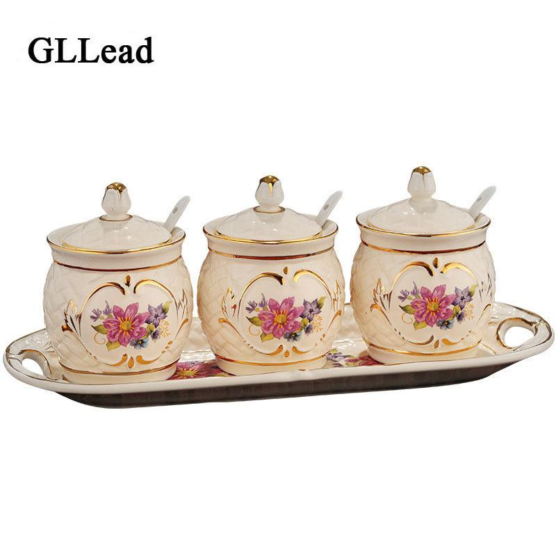 Gllead European Style Ceramic Cruet Hand Painted Gold Kitchen Series Seasoning Tools 3-piece Set And Plate Kitchen Seasoning Pot SH190715