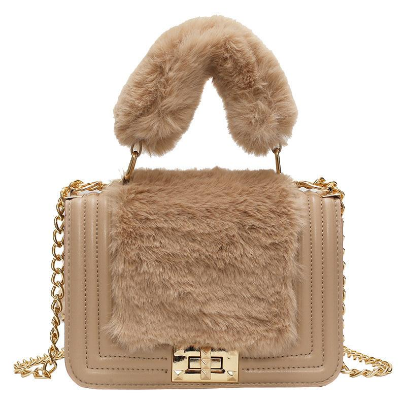 2019 Winter Fashion New Ladies Small Tote Bag High Quality Soft Plush  Women S Designer Handbag Lock Chain Shoulder Messenger Bag Wholesale Bags  Over The ... 5c4b46e039781