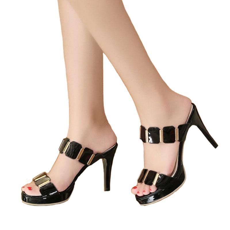 prezzo competitivo 80eb0 0f56c Donne sexy tacco alto zoccoli zoccoli neri di pesce bocca caviglie alta  muli pantofole femminile slip on sandalo scarpe buty damskie