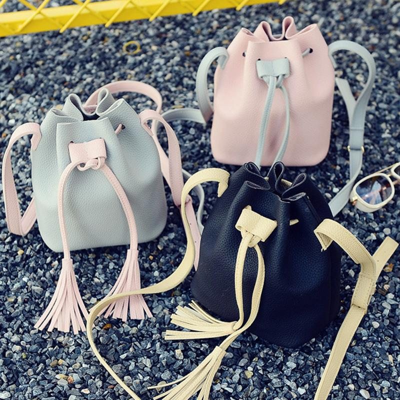 84b9bdb0160e Fashion Women Pu Leather Handbag Crossbody Organizer Small Cute Bucket Bag  Messenger Shoulder Bags With Tassel Fab Women Bag