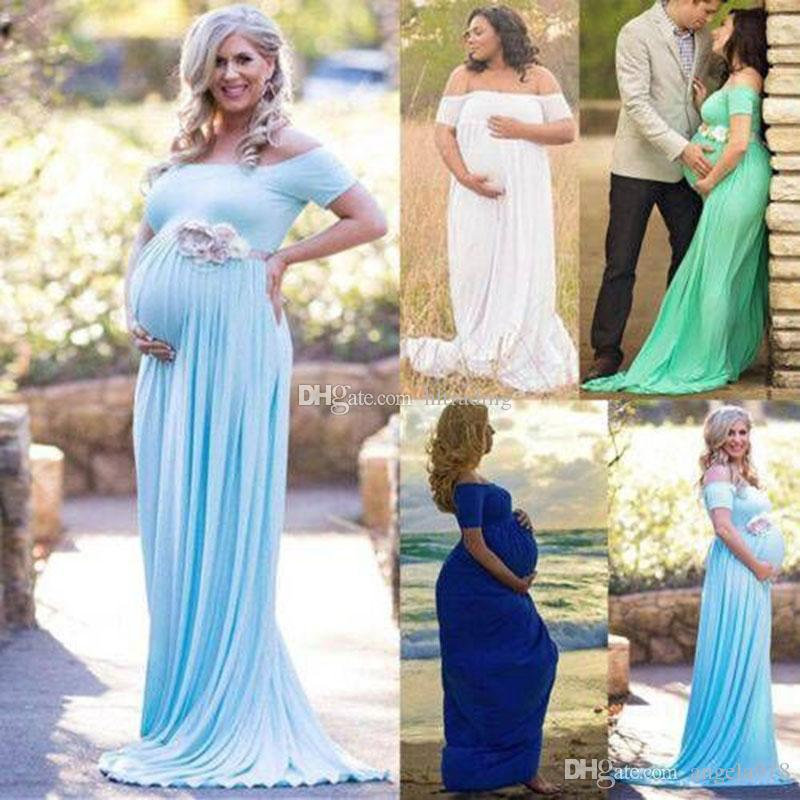610b9514cb1e6 2019 New Maternity Dress Photography Props 2019 Summer Off Shoulder Long Maxi  Dress Pregnancy Women Dress Clothes For Pregnant C6076 From Angela918, ...