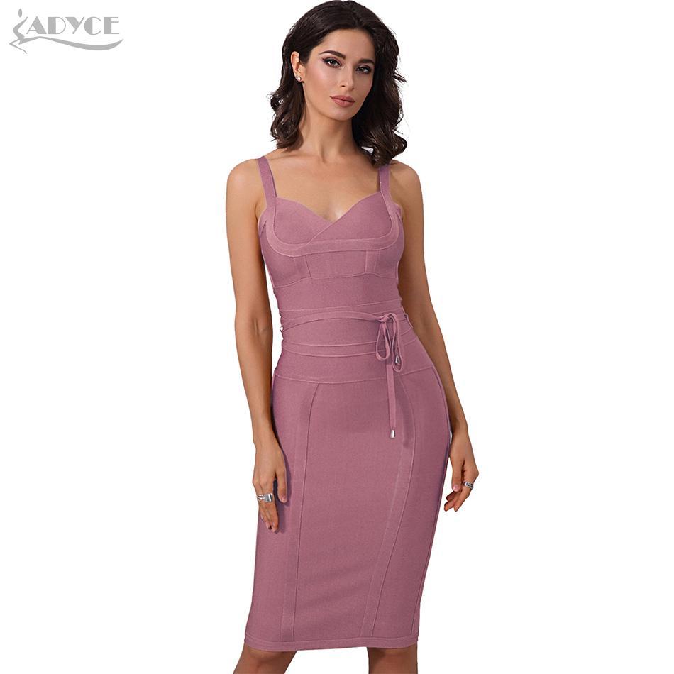 18a763f7d Compre Adyce Ropa Mujer Vestido De Vendaje De Verano 2019 Sexy Celebrity  Party Dress Discoteca Spaghetti Strap Club Bodycon Vestido De Vestidos S322  A ...