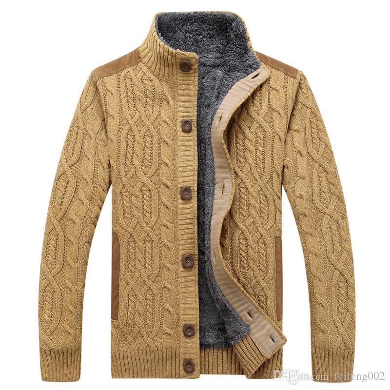 1281e2e4d8 Maglione invernale Uomo Dolcevita caldo maglione pesante Cashmere lana pile  Maglione uomo Cardigan monopetto Sueter Hombre 3XL # 556218