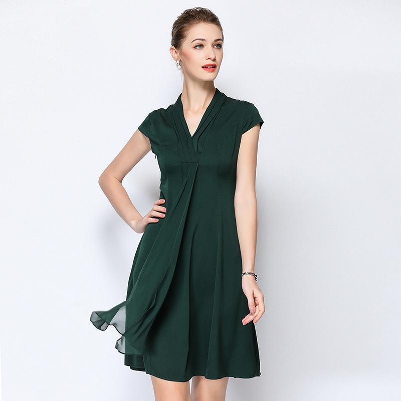 f936f3cc36115 Satın Al Şifon Ipek Artı Boyutu Yaz Elbise Elbise Vintage Rockabilly ...