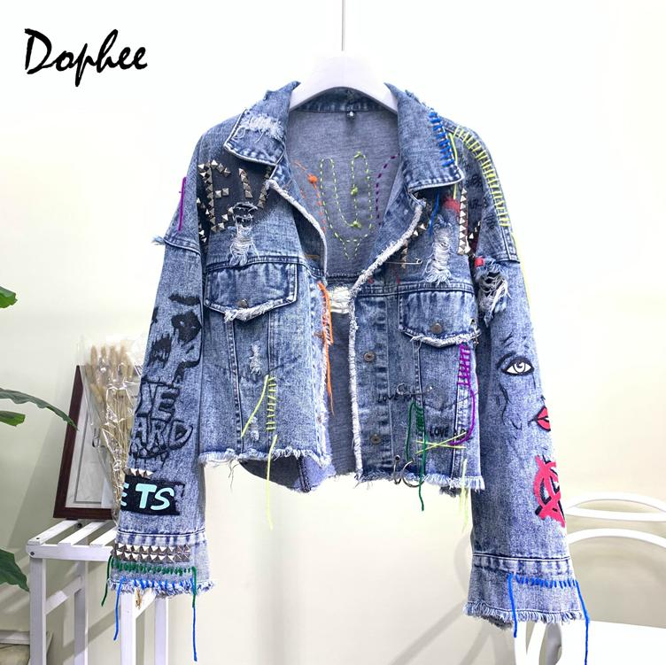 2019 New Autumn Embroidery Letter Denim Jacket Women Autumn Streetwear Graffiti Hole Short Coat Girl Bomber Jacket