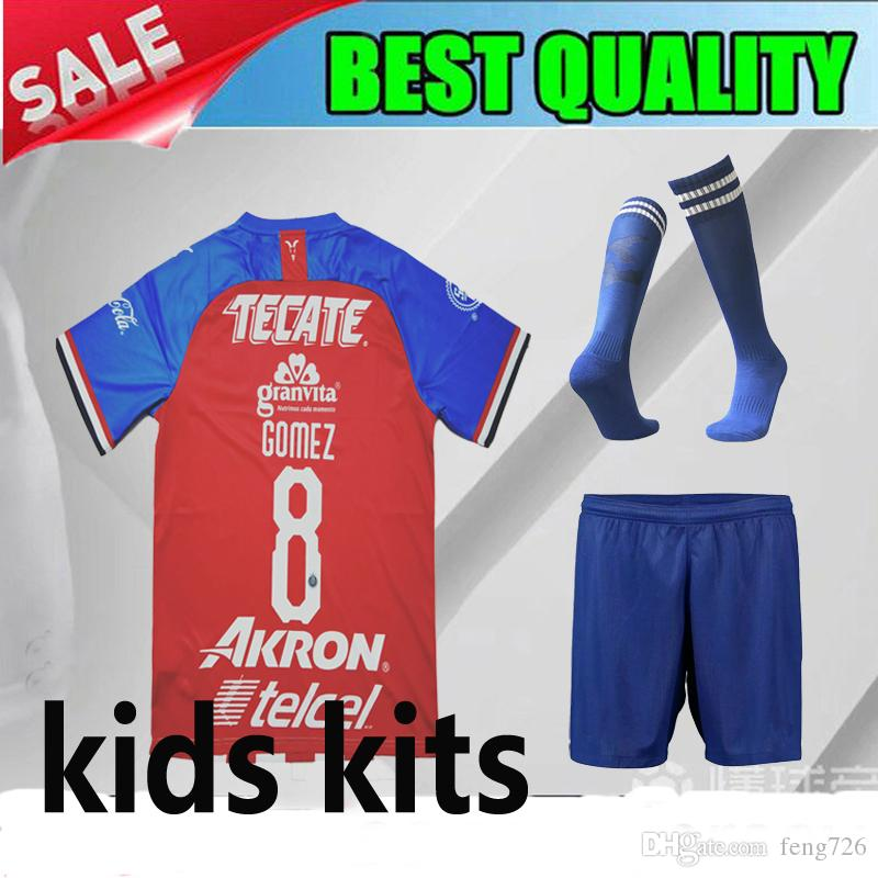 ee4e9a76f 2019 2019 2020 Chivas Club Home Kids Kits Soccer Jerseys 19 20 Chivas Red  Children Soccer Shirt O.BRAVO A.PULIDO Mexico Football Shirts From Feng726
