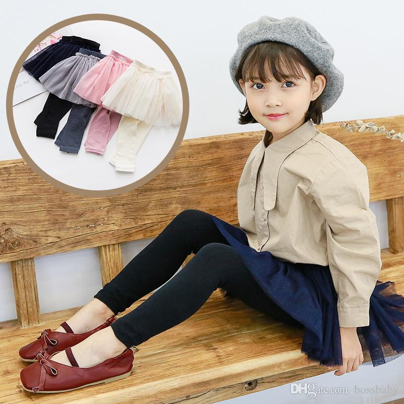 027db1a54 2019 Girl Solid Color Pantskirt Cotton Princess Girls Skirt Leggings ...