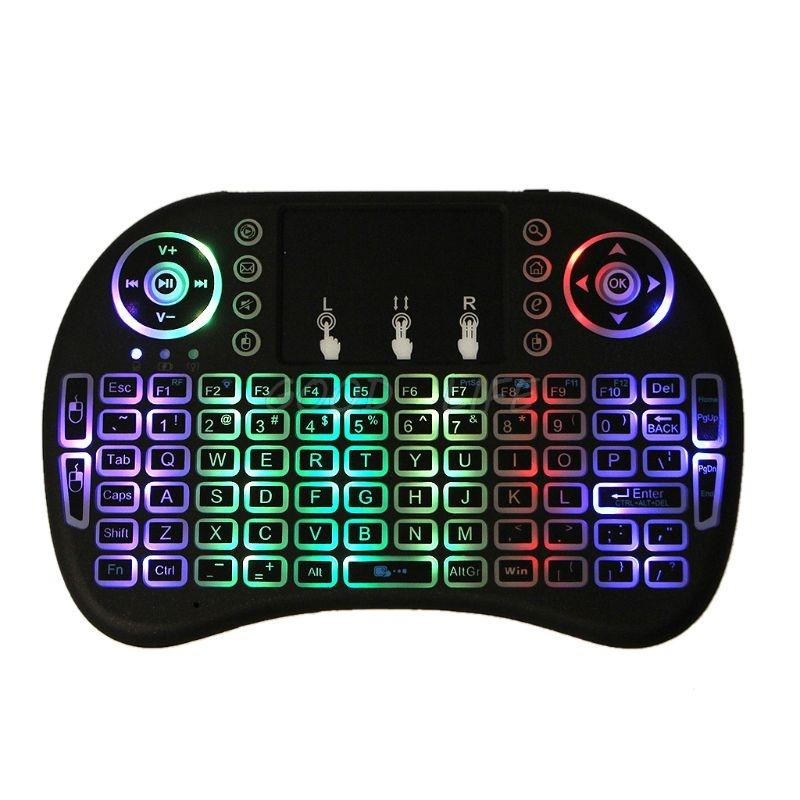 RGB LED rechargeable backlits sans fil 2,4 GHz i8 Clavier Touchpad Air Mouse avec Touchpad Android TV Remote Control Box