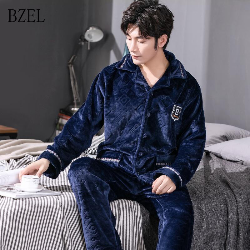 77da4af15f BZEL Pajamas Set Men s Clothing Winter Coral Fleece Autumn Winter Flannel  Thicken Warm Sleepwear Suit Casual Homewear Pajama Sets Cheap Pajama Sets  BZEL ...