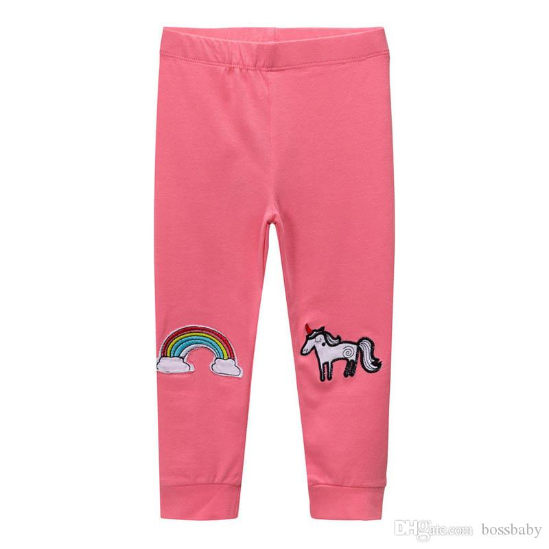 Kisd Girl Unicorn Leggings Girl Knitted Trousers Children Tight Trousers Stripe Rainbow Flower Printing Elastic Pants 32