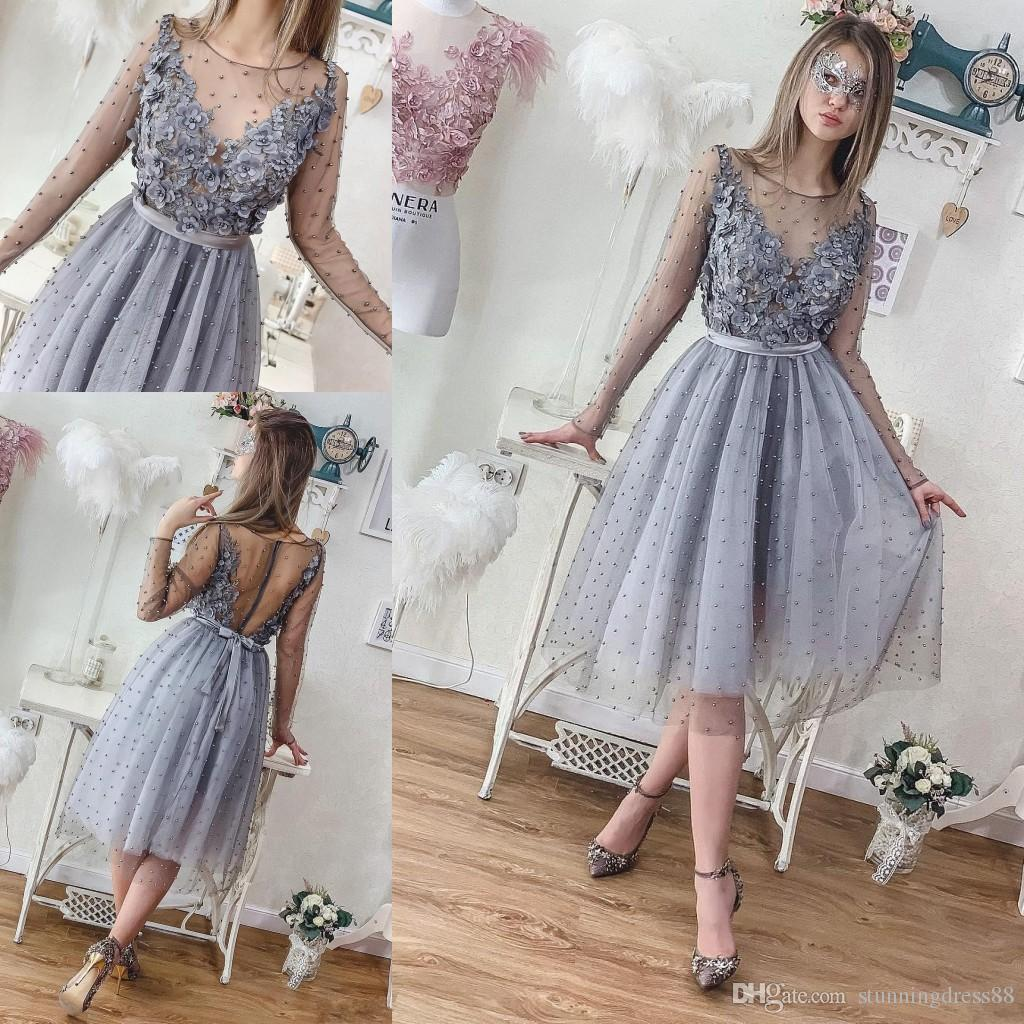12a91bb5c05f1 Romantic 3D Floral Flowers Knee Length Gray Evening Party Dresses Pearls A  Line Tulle Applique Short Prom Formal Homecoming Dress New Evening Gown  Dress ...