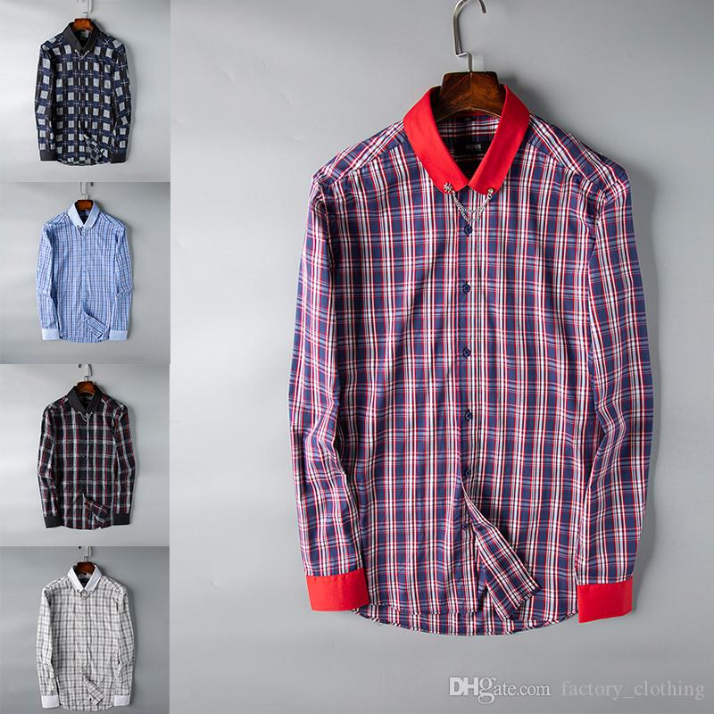 S-XXXL 2019 Spring and autumn Explosion Mens Thick flannel sanding Check Pattern Shirt More Colors