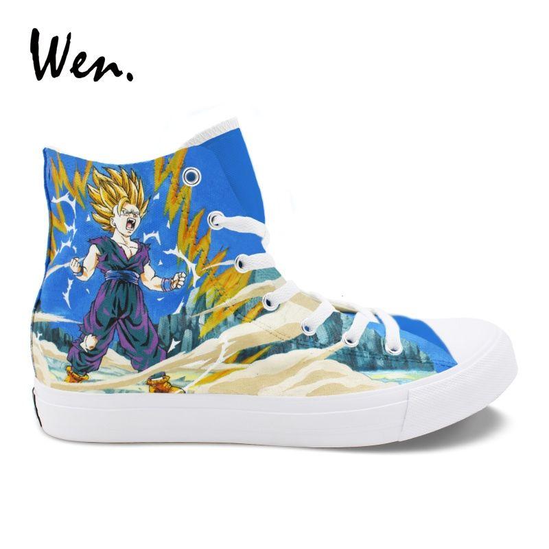 Wen Custom Canvas Shoes Dragon Ball Super Saiyan Son Goku Hand Painted Shoes Sneakers Men Women High Top Espadrilles Flat Loafer #54797