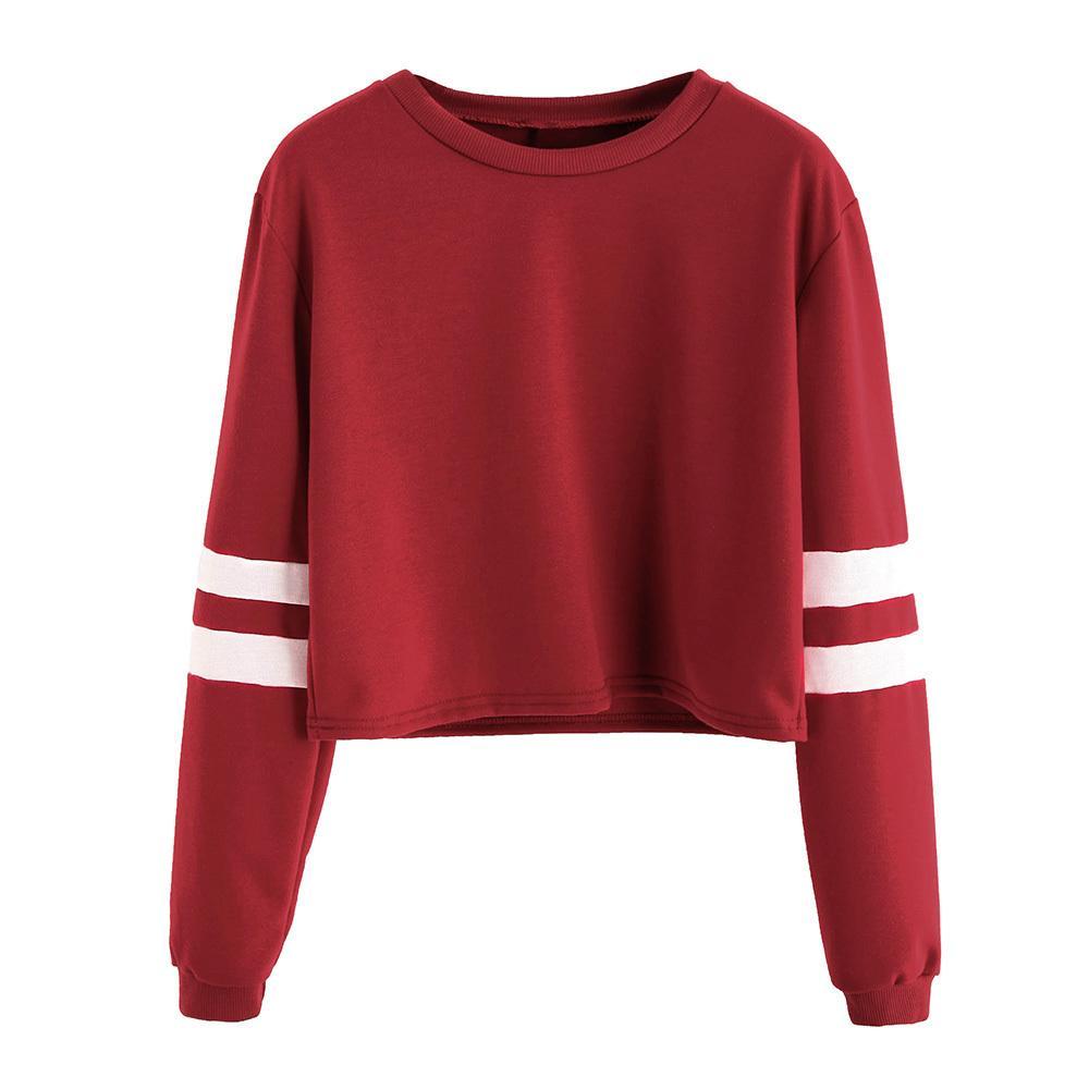 809dc65d1552 2019 2019 Autumn Women Casual Short Hoodie Sweatshirt Loose Stripe Long  Sleeve Pink Clothes Kawaii Preppy Fall Korean Croptop Hoodies C19030801  From ...