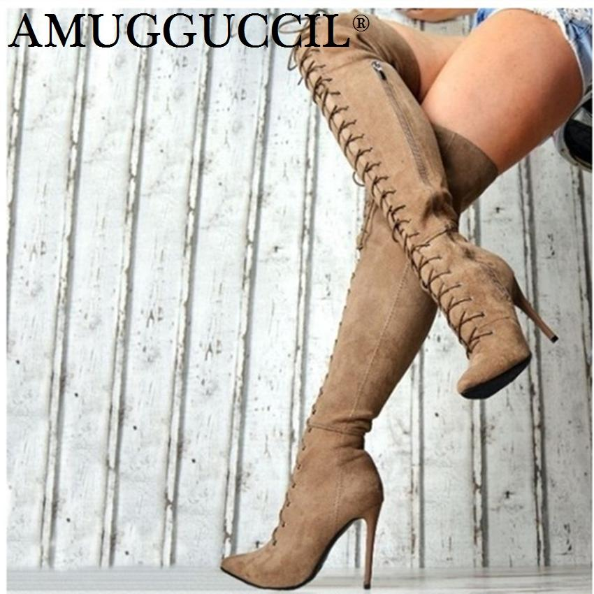 440197860513 2019 Plus Big Size 36 47 Black Gray Khaki Wine Red Zip Lace Up Sexy Thigh High  Heel Over The Knee Autumn Lady Women Boot X1787 Ariat Boots Work Boots From  ...