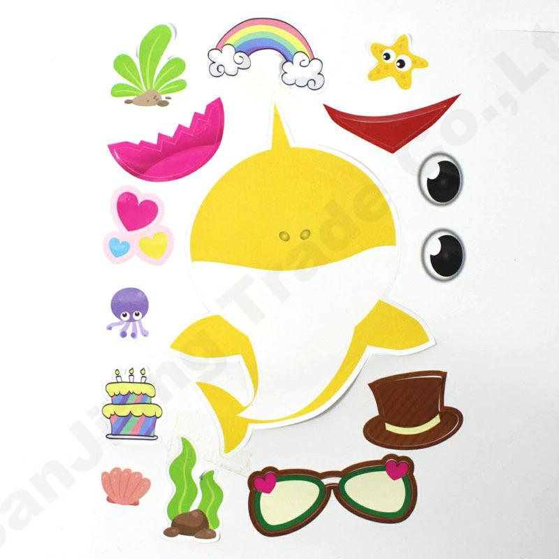 24 unids / lote Bebé Shark Sticker Party Supplies Game Boy Girl Paster DIY Juguete de dibujos animados Decor Niños Kids Room Decor Pegatinas para portátiles A61306