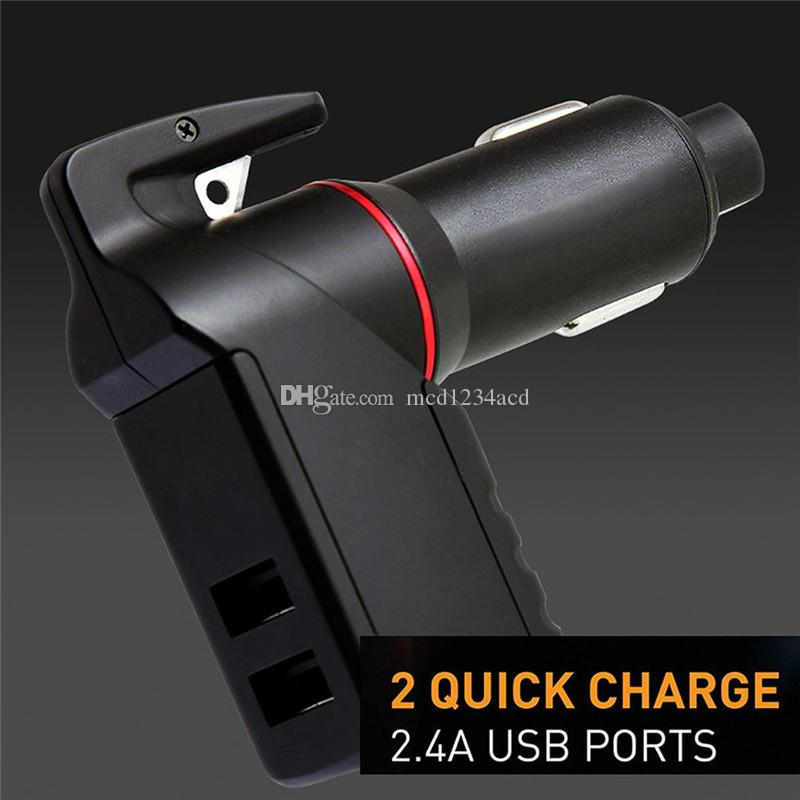 3 in 1 Emergency Escape Tool Car Cigarette lighter Car Charger with Window Breaker Seat Belt Cutter USB Charger 2.4A For Samsung tablet pc