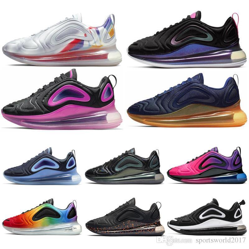 Nike Air Max 720 2019 Hombres Zapatos Corrientes Pride Spirit Teal Paquete de Pascua Obsidiana Iridiscente Mujeres Hombres Entrenadores deporte al