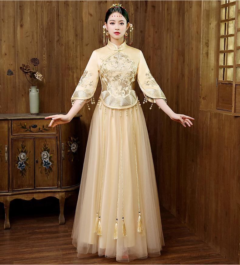 d2cd7c37df9 MX229 Elegant Women Floral Qipao Vintage Chinese Traditional Mandarin  Collar Cheongsam Sexy Wedding Bridesmaid Dress Prom Dresses Under 300 Prom  Store From ...