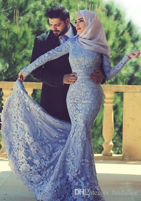Blue Muslim Evening Dresses 2019 Mermaid Long Sleeves Appliques Lace Scarf  Islamic Dubai Saudi Arabic Long Elegant Evening Gown Even Dress Evening  Dress ... 13349344c083