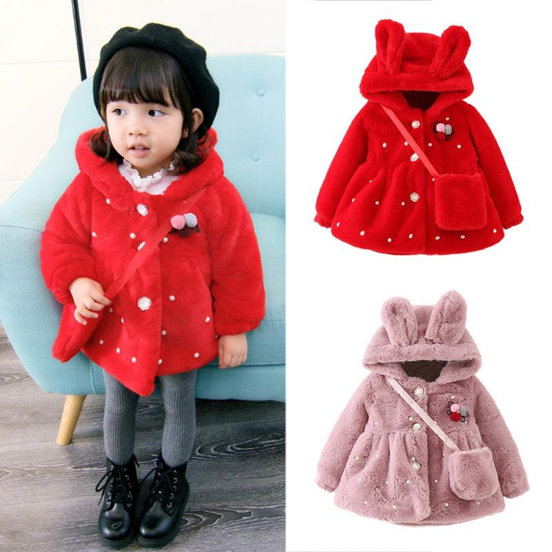 b5049597f0a Baby Girl Jackets 2019 Winter Outerwear Flannel Fabric Baby Girls Coat  Lovely Hooded New Year Coat For Girls Clothes