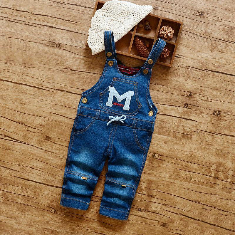 good quality Spring Autumn Toddler Baby Strap Bib Denim Trousers Children Unisex Cotton M Pattern Suspenders Jeans Kid Overall Pants