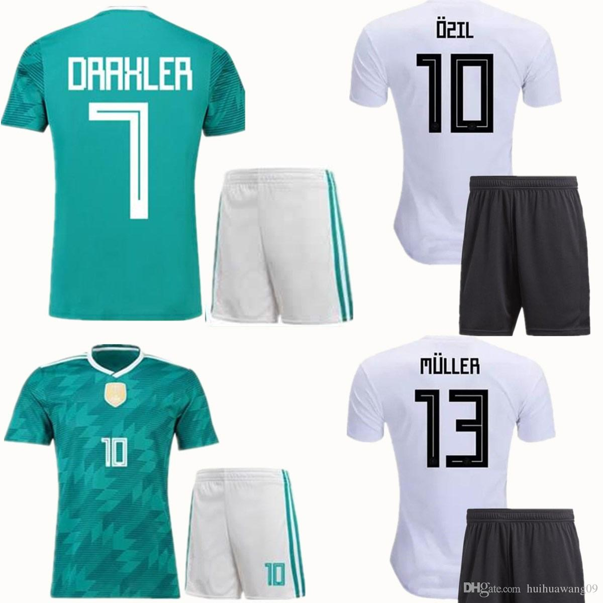 8b231a04880 2019 2018 World Cup Soccer Sets OZIL MULLER GOTZE KROOS REUS Football Kit  GerMANy Home Away Green Soccer Set Adults Thai Quality Wears From  Huihuawang09