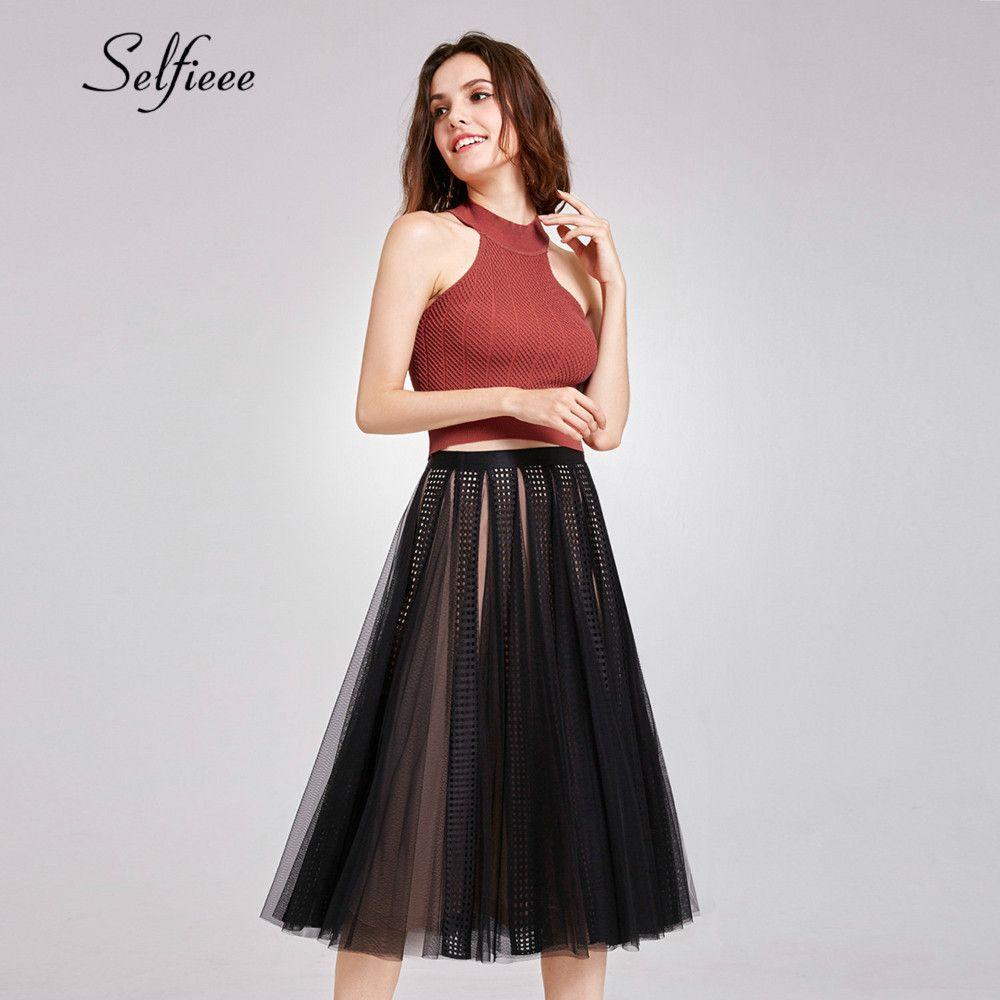 a5fd196aa Compre Faldas De Tul Negras Para Mujer Nuevo Diseño Una Línea Falda Corta  Elástica Cintura Alta Malla Plisada Falda Corta 2019 Jupe Tulle Femme A   33.51 Del ...